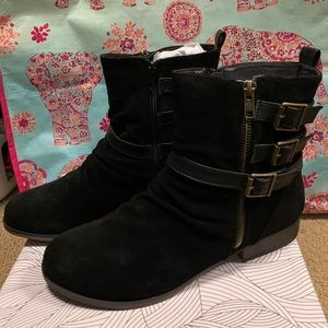 New never worn suede combat booties! Size 9!